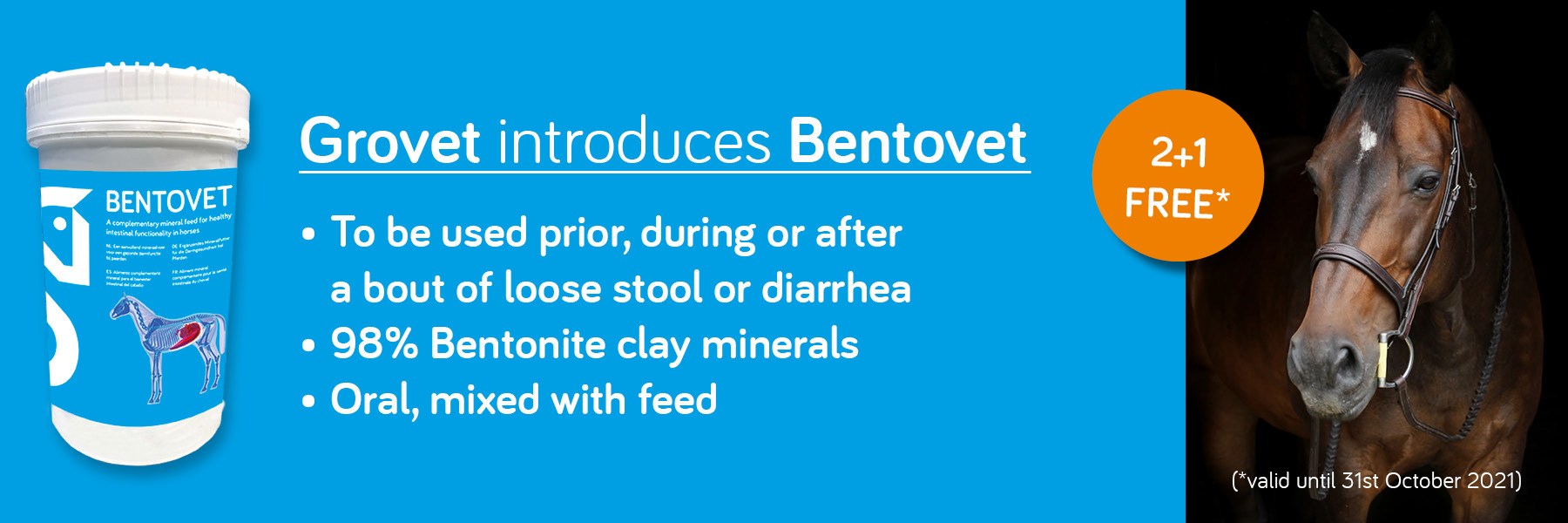 Bentovet, to be used prior, during or after a bout of loose stool or diarrhea